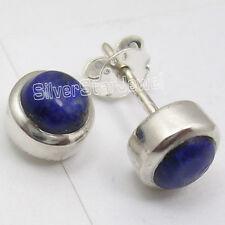 925 Solid Silver CABOCHON LAPIS LAZULI Beautiful Stud Post Earrings 0.8CM New