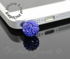 BLUE CRYSTAL BALL MOBILE PHONE IPHONE IPAD IPOD CHARM EARPHONE JACK DUST PLUG