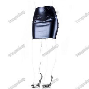 Soft PU Leather Mini Dress Spanking Skirt Open Hip Sexy Lingerie