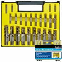 BlueSpot 150pc Micro HSS Precision Drill Bit Set 0.4 - 3.2mm Metal Wood Plastic