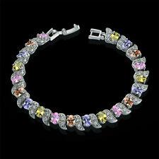 Luxury Multi-color Cubic Zirconia CZ White Gold Filled Tennis Bracelet Gift
