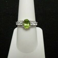 Size 8 Natural Chanbai Peridot & White Topaz Sterling Silver Ring  2.08cts