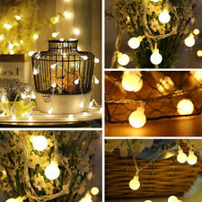 Mains Powered Indoor Outdoor 100 Globe Bulb String Fairy Lights Warm White LED