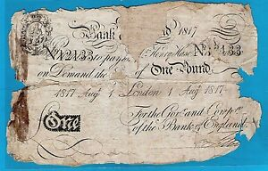 Bank of England £1 White Note Sign Henry Hase Printed Date 1.8.1817 – Poor RARE