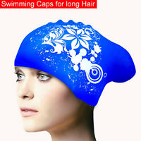 Silicone Swimming Cap for Long Hair Womens Swim Caps Ladies Hood hat