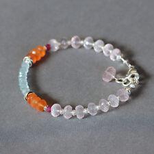 Aquamarine Carnelian Rose Quartz Ruby .925 Sterling Silver Bracelet U&C Sundance