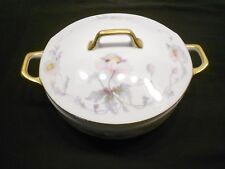 "EPIAG PASTELLE CZECHOSLOVAKIA 8"" SERVING DISH FLOWER WITH GOLD RIM"