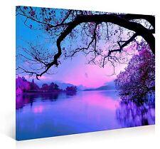Nuolanart-PURPLE MORNING Modern Landscape Canvas Print Wall Art - Framed Ready -