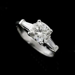 Cushion Forever One Moissanite Tapered Baguettes Diamonds Engagement Ring
