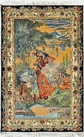 4x6 Multi Color Hand Knotted Pictorial Area Rug & Carpet | Omar Khayyam Silk Rug
