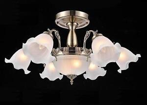 NEW Nordic Glass Ceiling Light Pendant Lamp Flower Lighting Chandelier Bronze