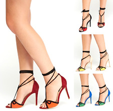 Womens Stiletto Mid Heel Strappy Lace Tie Up Ladies Peep Toe Sandals Shoe UK