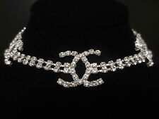 2 Row Crystal Rhinestone Choker Necklace Prom Wedding Bridal Bridesmaids Gift