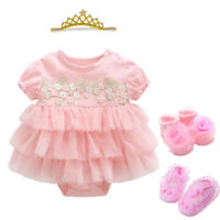 Baby infant girls princess bodysuit+headband+socks+shoes baby dress shower gift