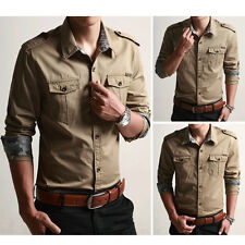 Mens Long Sleeves Shirts Denim Military Jeans Cotton Pockets Multicolor MA6277