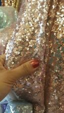 GLITZ SEQUIN ROSE GOLD ON MESH 58 INCH W FABRIC SOLD BY YARD