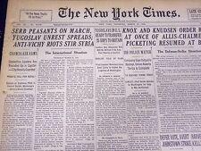 1941 MARCH 27 NEW YORK TIMES - ANTI VICHY RIOTS STIR SYRIA - NT 1234