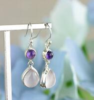 Fashion Women 925 Silver Dangle Drop Earrings Ear Hook Moonstone Jewelry Gift