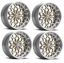 "Pro Wheels SNOWFLAKE 22"" Polished Aluminum Billet Wheels Rims Foose Intro Boyd"