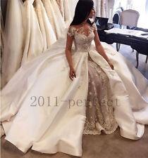 2017 Beaded Peals Wedding Dresses Custom Detachable Train Appliques Bridal Gowns