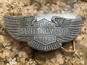 1970s Vintage Harley Davidson Motorcycles Wings Biker Belt Buckle Rare FAIR