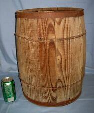 "Vtg Large Wooden Nail Keg Barrel Wire Wrapped Farm Primitive Wood 18"" Tall X 13!"