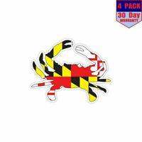Crab Maryland Flag 4 Stickers 4x4 Inch Sticker Decal
