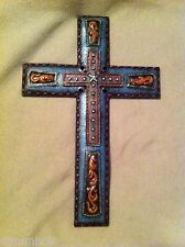 Western Style Hand Tooled Leather Look Wall Cross (RA4708B)