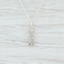 """Chi Omega Sorority Lavaliere Pendant Necklace Sterling Silver 18"""" Curb Chain"""