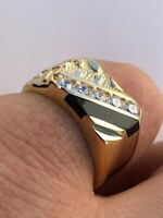 Men's 14k Gold Over Solid 925 Silver Nugget Black Onyx Ring W. Man Made Diamonds