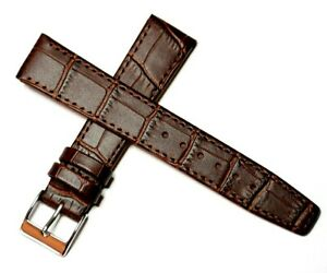 EASY FIT CLIP ON OPEN ENDED GENUINE LEATHER WATCH STRAP BROWN 12MM to 20MM
