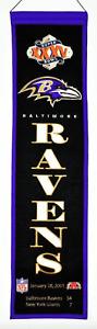 BALTIMORE RAVENS SUPER BOWL CHAMPIONS XXXV 35 HERITAGE BANNER RAY LEWIS