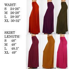 US Women's Summer Solid High Elastic Waist Foldover Long Jersey Maxi Skirt Dress
