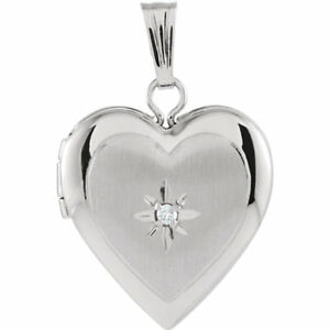 Heart Locket with Diamond Accent In 14K White Gold