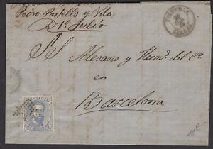 Espagne: Pli de 1872 avec timbre 12 C de Ptas Outremer Oblt Los de points