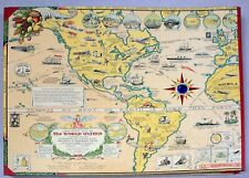 Map of World United Transport/Communications-Scrapbook-Oliver K Whiting-40s-NTCX