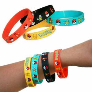 New 10pcs Pokemon Wristbands Bracelets Birthday Party Favours Lolly bag filler