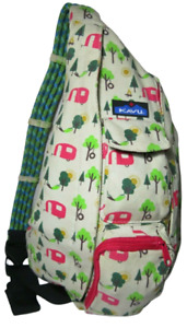 KAVU Rope Bag Sling Cotton Backpack - Retired - Trees Camper Camping  Fire Sun