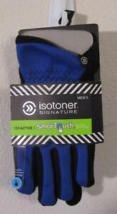 NWT Isotoner Signature Mens Active SmarTouch Gloves M Blue Spark MSRP$42