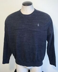 Polo Ralph Lauren Navy Blue Gray heather crew-neck pullover sweatshirt ~ mens XL
