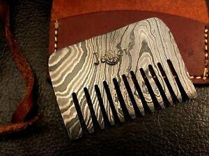 Handmade Pattern Welded Damascus Steel Beard Comb-Pendant-Pocket Size-CD