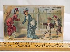 New Home Sewing Machine Co Ladies Ripped Dress Boys Pointing Laughing F38