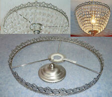 CHANDELIER BAG LIGHT BAGUETTE FRAME ONLY ANTIQUE CHROME NO DROPS DROPLETS RETRO