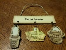 "Mini Wooden Wall Hanging Country Plaque ""Basket Collector"" Decor Primitive"