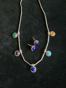 "Vintage Sterling Silver Liquid Gemstone Necklace 16"" Chain Lapis Earrings Set"