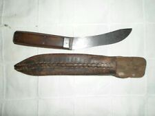 Antique 1800's Hand-forged Carbon Steel Skinning Knife With Original Sheath
