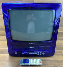 VERY RARE DAEWOO GB14H2NBL VHS COMBI Transparent Blue Retro Gaming TV 14inch