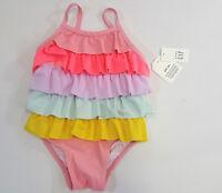 NWT Baby Gap Girls Size 0 6 12 18 24 Months Rainbow Ruffle Swimsuit Bathing Suit
