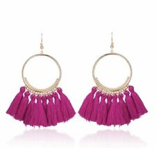 Earring Boho Festival Party Boutique Uk Gold Cerise Pink Drop Tassel Fashion