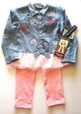 Freestyle Revolution Girls 3T Denim Chambray Pink Leggings Two Piece Set New